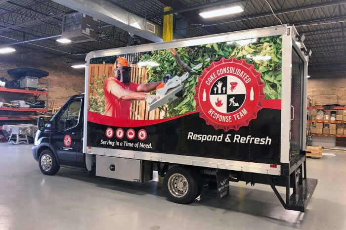 Coke Van showing custom vehicle wrap