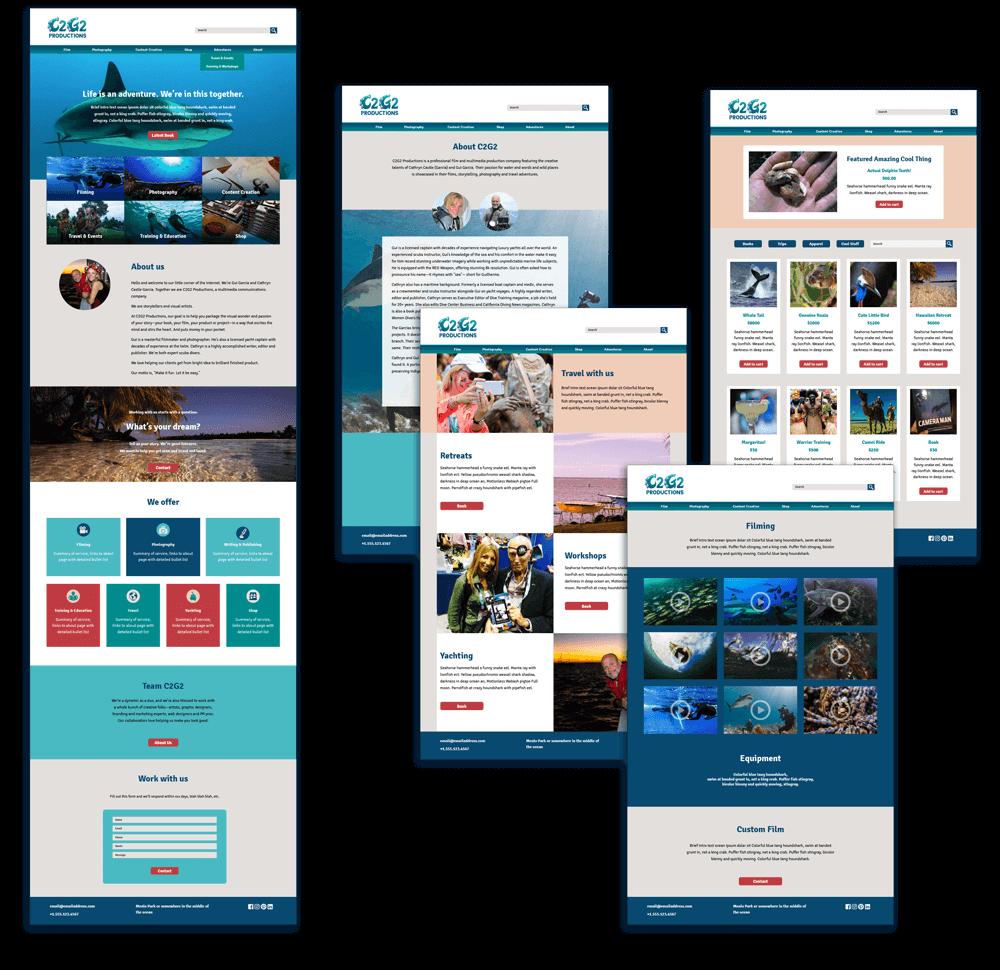 Website design mockups for C2G2 Productions