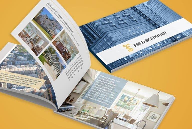 Fred Schnider Real Estate Investors Portfolio Book Brochure Design over a yellow background brochure design San Francisco