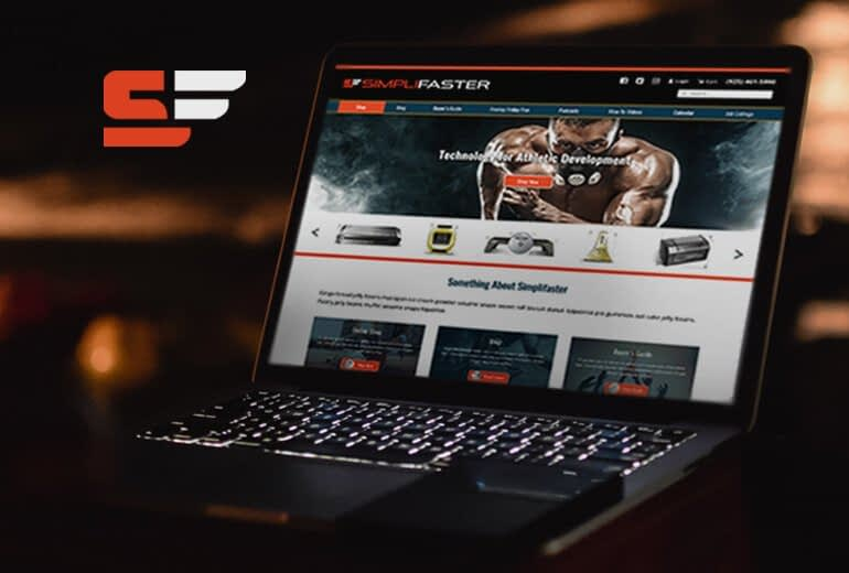 Laptop with Simplifaster homepage web design by Susy Bias, freelance designer San Francisco