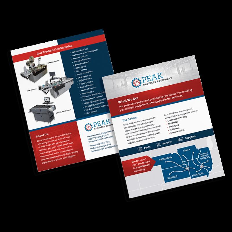 Peak Business Equipment marketing flyer