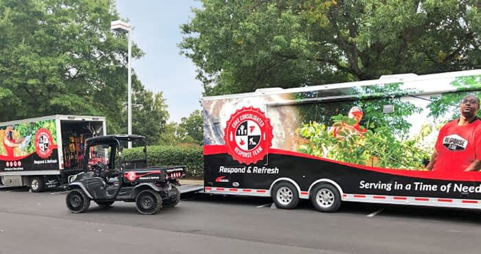 Coke Semi Trailer and Off-Road Vehicles showing custom vehicle wraps