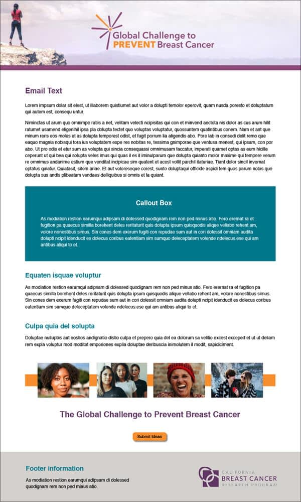 Global Challenge to Prevent Breast Cancer email template design