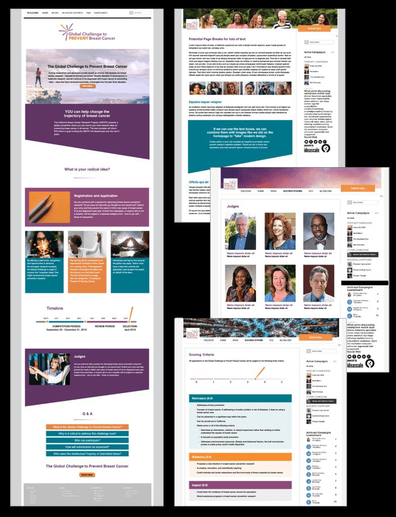 Global Challenge to Prevent Breast Cancer IdeaScale website design