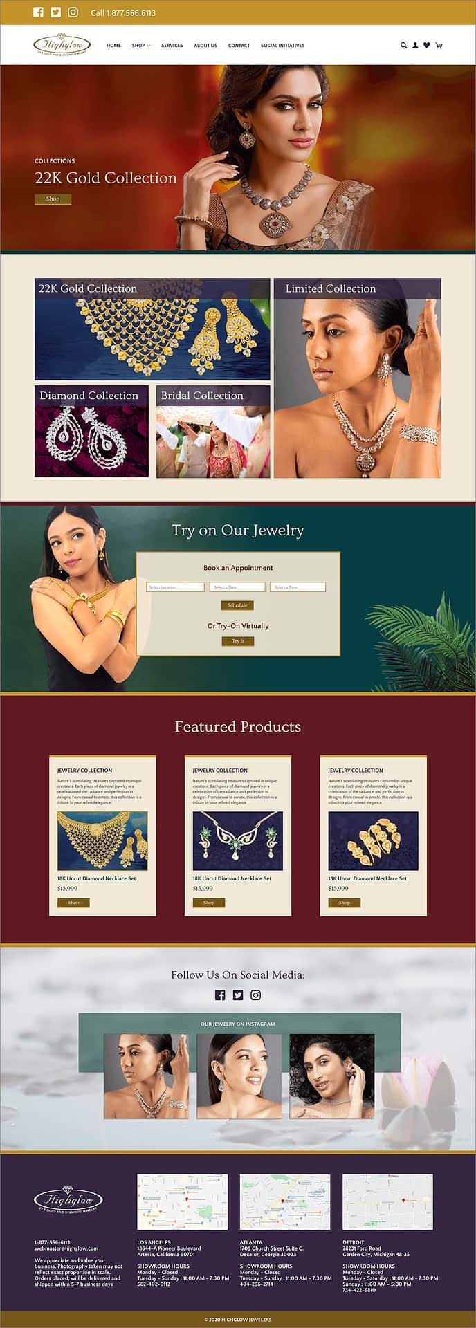 Highglow Jewelers Shopify Homepage Design