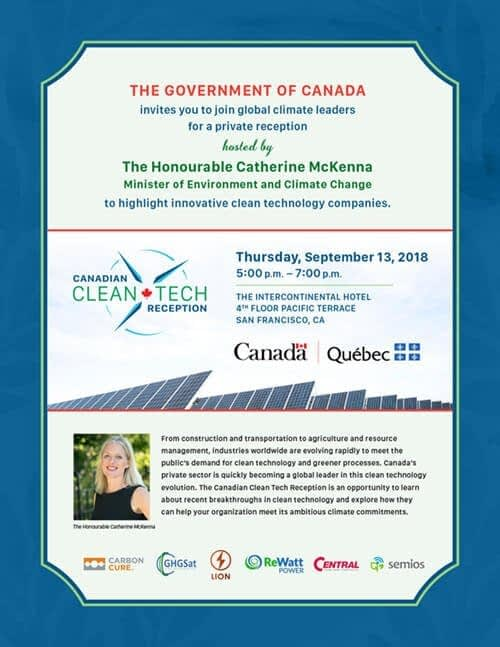 Canadian Clean Tech Reception invitation design