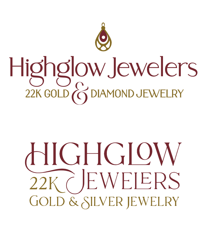 Highglow Jewelers brand board with colors, typography, and website styles