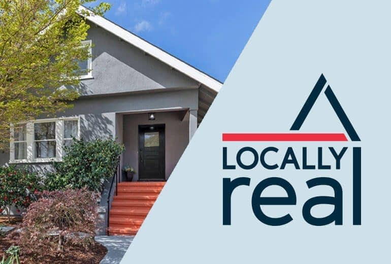 Locally Real Logo and a house in Berkeley